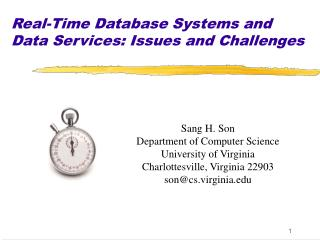 Real-Time Database Systems and Data Services: Issues and Challenges