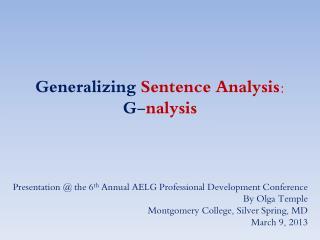 Generalizing  Sentence Analysis: G- nalysis
