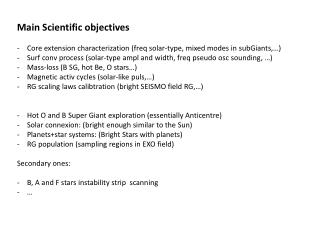Main  Scientific  objectives