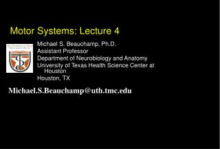 Motor Systems: Lecture 4