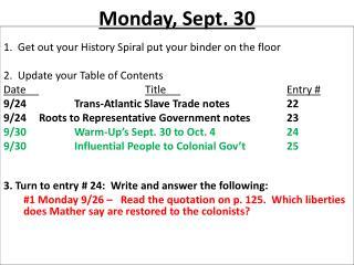 Monday ,  Sept.  30
