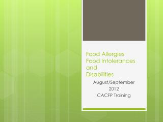 Food Allergies  Food Intolerances and Disabilities