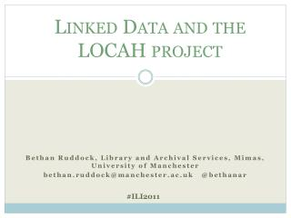 Linked Data and the LOCAH project