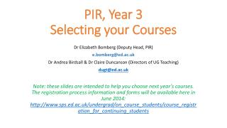 PIR, Year 3 Selecting your Courses
