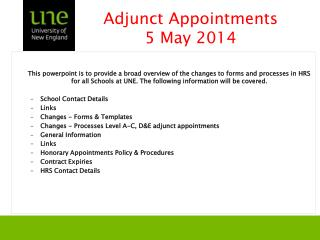 Adjunct Appointments 5 May 2014