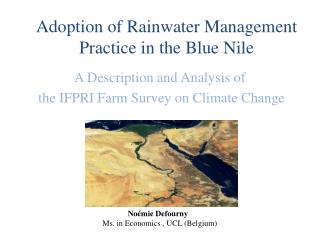 Adoption of Rainwater Management  Practice in the Blue Nile