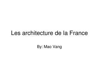 Les architecture de la France