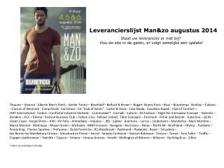 Leverancierslijst Man&zo augustus 2014