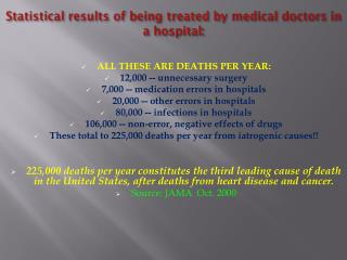 Statistical results of being treated by medical doctors in a hospital: