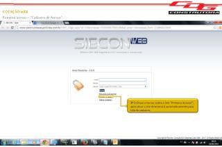 """COTAÇÃO WEB Primeiro acesso – """"Cadastro de Acesso""""."""