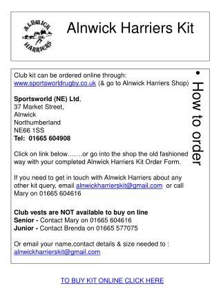Alnwick  Harriers Kit
