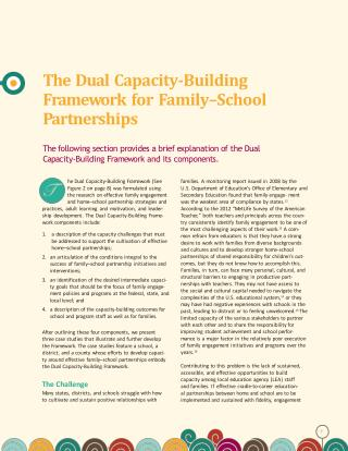 The Dual Capacity-Building F r am e w ork for F amily–School P artne r ships