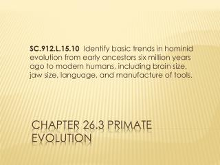 Chapter 26.3 Primate Evolution