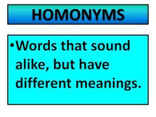 H OMONYMS