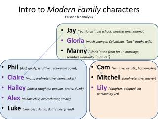 Intro to  Modern Family  characters Episode for analysis