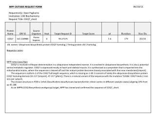 MPP OUTSIDE  REQUEST FORM 06/10/11 Requestor(s ): Dave  Pagliarini