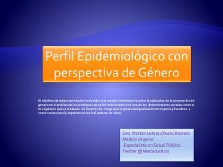 Perfil Epidemiológico con perspectiva de Género