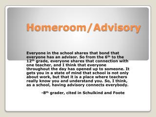 Homeroom/Advisory