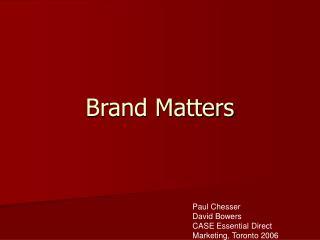 Brand Matters
