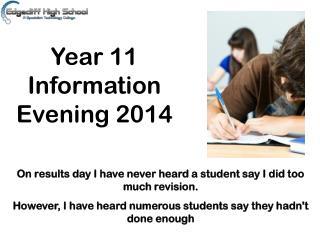Year 11 Information Evening 2014