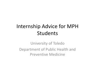 Internship Advice for MPH Students