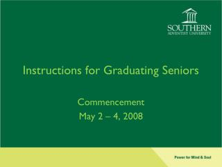 Instructions for Graduating Seniors