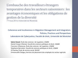 Coherence and Incoherence in  Migration Management and Integration;