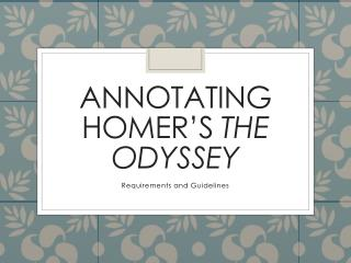 Annotating homer's  the odyssey