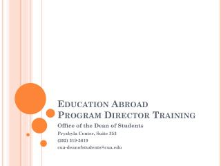 Education Abroad  Program Director Training