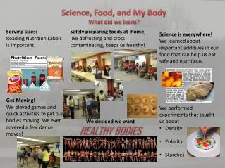 Science, Food, and My Body What did we learn?