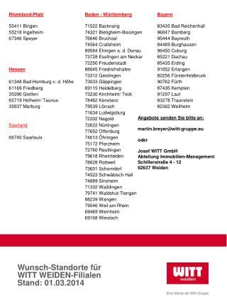 Wunsch-Standorte für  WITT WEIDEN-Filialen Stand: 01.03.2014