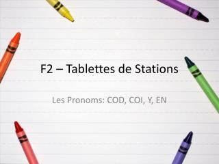 F2 –  Tablettes  de Stations