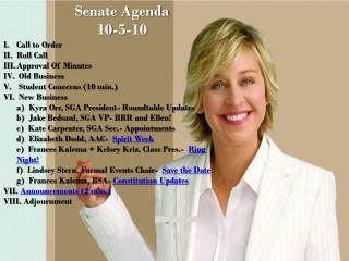 Senate Agenda 10-5-10