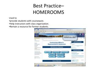 Best Practice–  HOMEROOMS