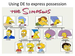 Using DE to express possession