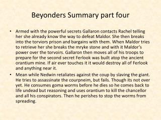 Beyonders Summary part four