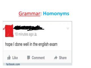 Grammar :  Homonyms