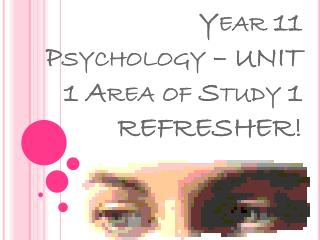 Year 11 Psychology – UNIT 1 Area of Study 1 REFRESHER!