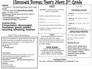 Hammett Bowen Bear's News  3 rd  Grade