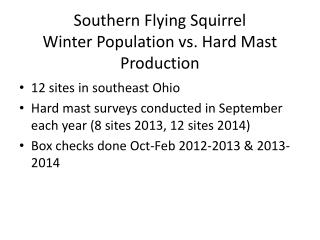 Southern Flying Squirrel Winter Population vs. Hard Mast Production
