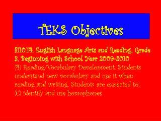 TEKS Objectives