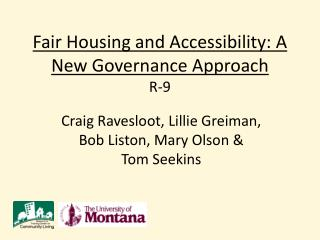 Fair Housing and Accessibility: A New Governance  Approach R-9