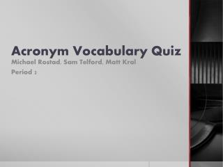 Acronym Vocabulary Quiz