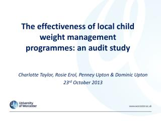 The effectiveness of local child weight management programmes: an audit study