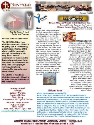 Sunday School  10:00am Sunday Worship Sundays 11:15am Bible Study Wednesdays 12:00pm & 7:00pm