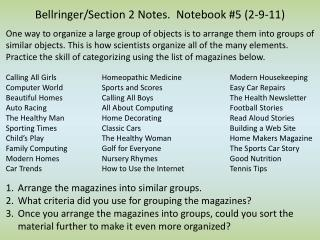 Bellringer/Section 2 Notes.  Notebook #5 (2-9-11)