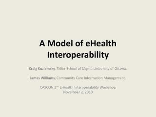 A Model of eHealth Interoperability
