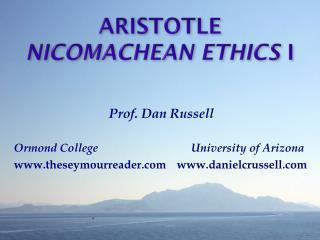 Aristotle Nicomachean  Ethics  I