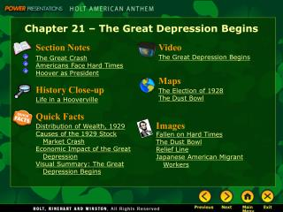 Chapter 21 � The Great Depression Begins