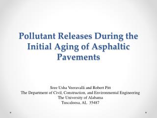Pollutant Releases  During  the Initial Aging of Asphaltic Pavements